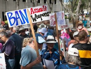 People and protest signs Ban Assault Weapons