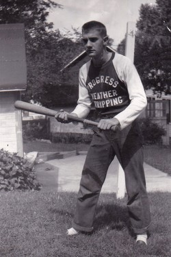 young tom playing baseball