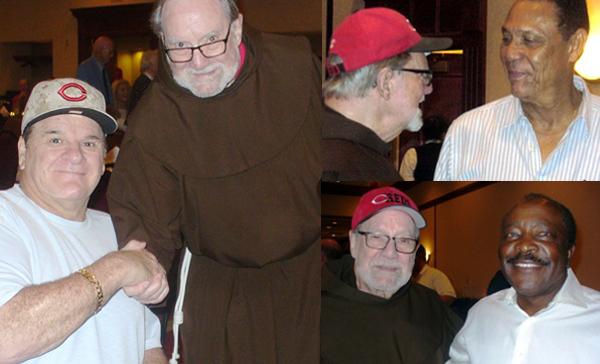 Fr. Tom with Pete Rose, Tony Perez and Joe Morgan