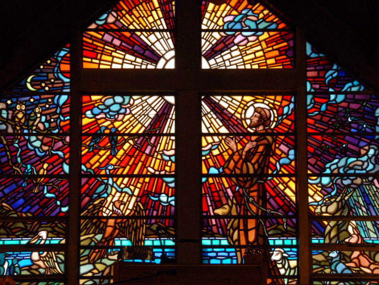 stained glass window in St Francis Retreat House