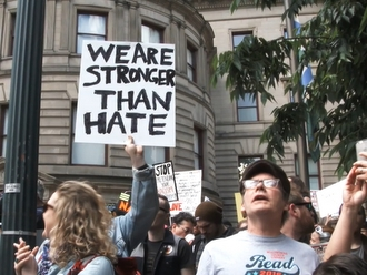 We are stronger than hate sign