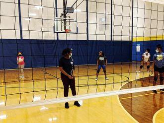 girls on volleyball court