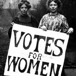 2 women holding vote for women sign