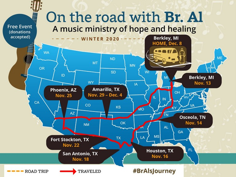 map of Al's journey