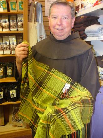 friar with plaid scarf
