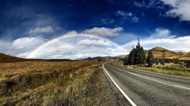 blue sky, rainbow, road