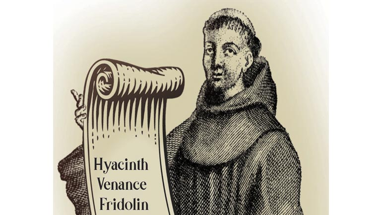 illustration with friar and scroll of names