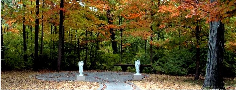 Memorial gardens in woods