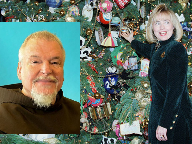 friar and woman and Christmas tree