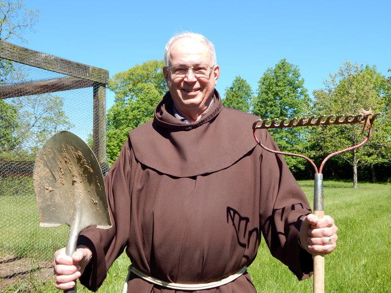 friar in garden