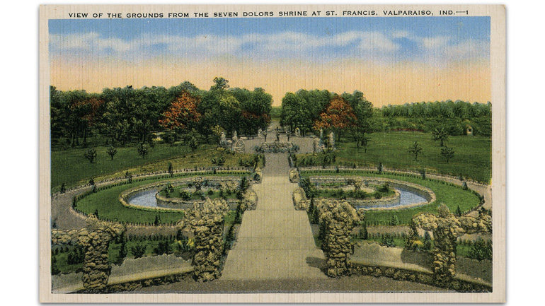 postcard of garden
