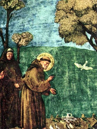 2 friars and birds and trees