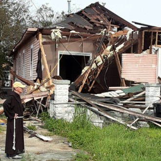 friar by destroyed home