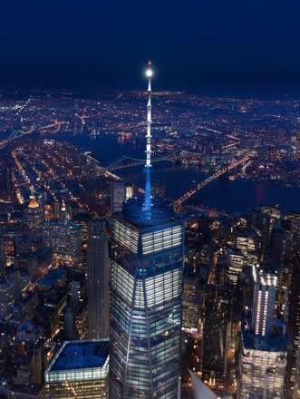 skycraper from above at night