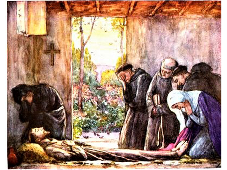 painting of dying friar and friends