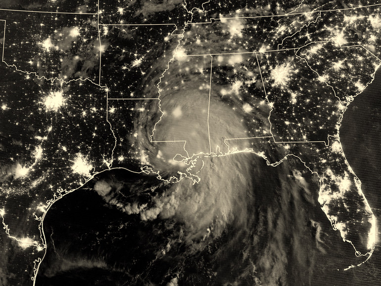 hurricane over map of New Orleans