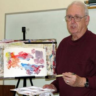 friar with easel and paints